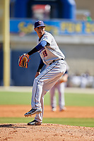 Jacksonville Jumbo Shrimp relief pitcher Jorgan Cavanerio (18) delivers a pitch during a game against the Biloxi Shuckers on May 6, 2018 at MGM Park in Biloxi, Mississippi.  Biloxi defeated Jacksonville 6-5.  (Mike Janes/Four Seam Images)