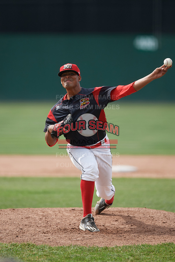 Batavia Muckdogs starting pitcher Manuel Rodriguez (47) delivers a pitch during a game against the West Virginia Black Bears on June 25, 2017 at Dwyer Stadium in Batavia, New York.  Batavia defeated West Virginia 4-1 in nine innings of a scheduled seven inning game.  (Mike Janes/Four Seam Images)