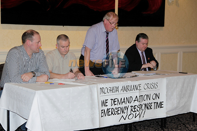 Ciaran McCullough, Austin Byrne, Frank Godfrey and Paul Bell during the Drogheda Ambulance Crisis meeting in the Westcourt Hotel on Monday 10th February 2014.<br /> Picture:  Thos Caffrey / www.newsfile.ie