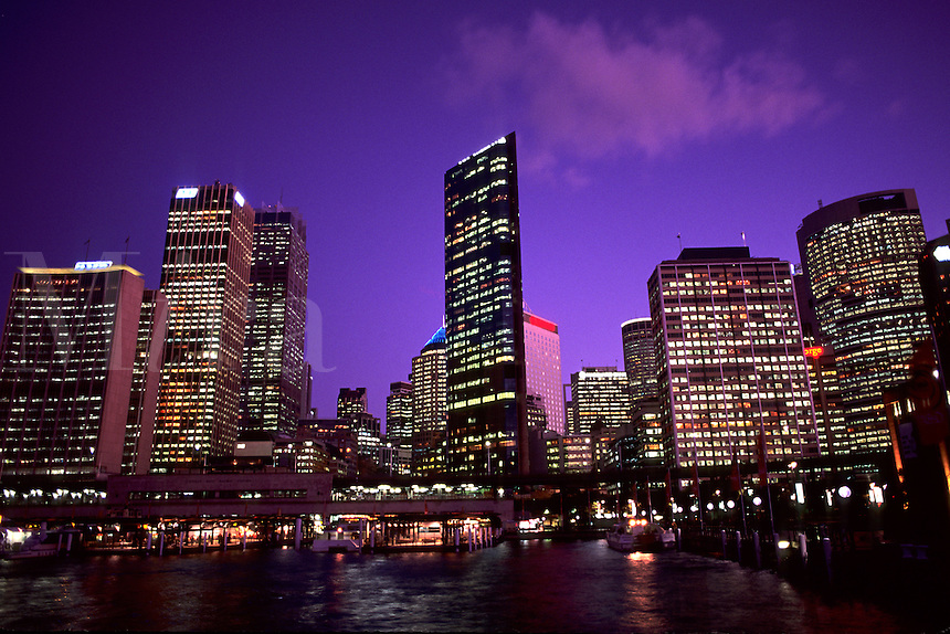 Colorful night time graphic sunset of  Sydney Skyline from Circular Quay  in New South Wales Australia