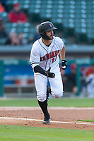 Indianapolis Indians second baseman Kevin Kramer (17) hustles down the first base line during an International League game against the Columbus Clippers on April 29, 2019 at Victory Field in Indianapolis, Indiana. Indianapolis defeated Columbus 5-3. (Zachary Lucy/Four Seam Images)