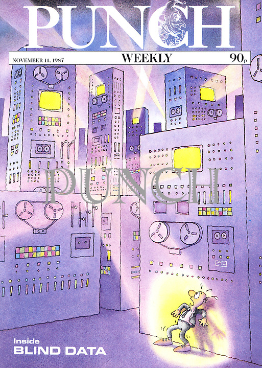 Punch (A man exposed in the spotlight of information storage systems. front cover, 11 November 1987)