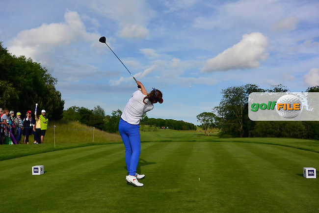 Hannah O'Sullivan on the 12th tee during the Saturday Afternoon Fourballs of the 2016 Curtis Cup at Dun Laoghaire Golf Club on Saturday 11th June 2016.<br /> Picture:  Golffile | Thos Caffrey