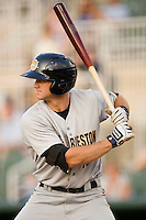 Rob Lyerly #16 of the Charleston RiverDogs at bat against the Kannapolis Intimidators at Fieldcrest Cannon Stadium May 29, 2010, in Kannapolis, North Carolina.  Photo by Brian Westerholt / Four Seam Images