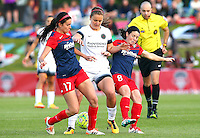 Boyds, MD - Saturday May 07, 2016: Washington Spirit forward Cali Farquharson (17) and forward Diana Matheson (8) sandwich Portland Thorns FC midfielder Lindsey Horan (7) during a regular season National Women's Soccer League (NWSL) match at Maureen Hendricks Field, Maryland SoccerPlex. Washington Spirit tied the Portland Thorns 0-0.