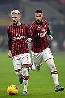 Samu Castillejo of AC Milan , Theo Hernandez of AC Milan <br /> Milano 09/02/2020 Stadio San Siro <br /> Football Serie A 2019/2020 <br /> FC Internazionale - AC Milan <br /> Photo Andrea Staccioli / Insidefoto