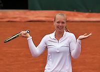 Paris, France, 01 June, 2016, Tennis, Roland Garros, Womans quarter final Kiki Bertens (NED) celebrates her victory over e Timea Bacsinszky (SUI)<br /> Photo: Henk Koster/tennisimages.com