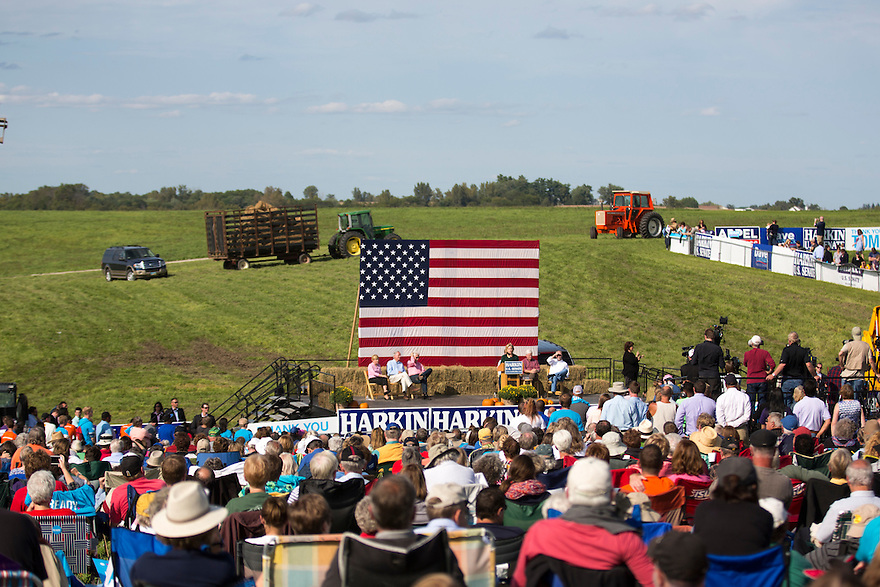 Hillary Clinton speaks at Iowa Senator Tom Harken'a   annual Steak Fry in Indianola,  Iowa