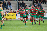 M. Tatafu takes the ball up from a tap penalty. Counties Manukau Premier Club Rugby round 5 game between Waiuku and Drury played at Waiuku on the 12th of May 2007. Waiuku led 33 - 0 at halftime and went on to win 57 - 5.