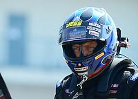May 19, 2012; Topeka, KS, USA: NHRA top fuel dragster driver David Grubnic during qualifying for the Summer Nationals at Heartland Park Topeka. Mandatory Credit: Mark J. Rebilas-