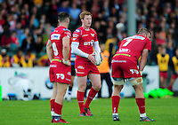 Rhys Patchell of the Scarlets looks on. Pre-season friendly match, between the Scarlets and Bath Rugby on August 20, 2016 at Eirias Park in Colwyn Bay, Wales. Photo by: Patrick Khachfe / Onside Images