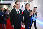 "June 7, 2013, Tokyo, Japan - France's President Francois Hollande, his companion Valerie Trierweiler are escorted by Tadashi Onodera, KDDI Corporation Chairman, during ""Innovons ensemble"", at Shibuya Hikarie in Tokyo, Japan, June 7, 2013.  President Hollande is in Japan for a three-day state visit. (Photo by Yusuke Nakanishi/Pool/Abaca Presse)"