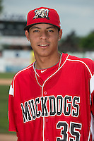 Batavia Muckdogs pitcher Jorgan Cavanerio (35) poses for a photo during media day on June 10, 2014 at Dwyer Stadium in Batavia, New York.  (Mike Janes/Four Seam Images)