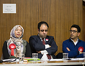 Hustings with Conservative, Labour, Liberal Democrats and Green local election candidates for 2 of the 18 council wards, Camden, London. Nazma Rahman (L) , Peter Taheri (C) Shiva Tiwari (R).
