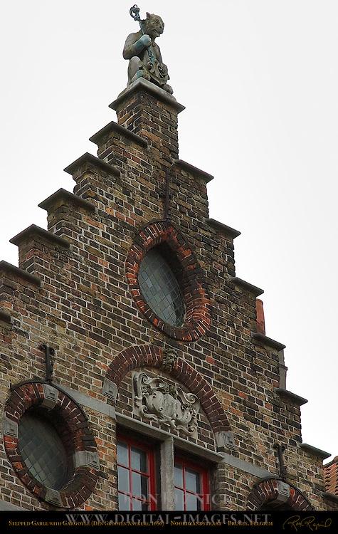 Stepped Gable with Gargoyle, Den Grooten Anckere 1656, Noordzandstraat, Bruges, Brugge, Belgium