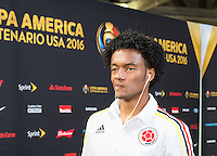 Glendale, AZ - Saturday June 25, 2016: Juan Cuadrado prior to a Copa America Centenario third place match match between United States (USA) and Colombia (COL) at University of Phoenix Stadium.