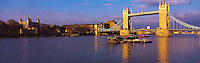 © David Paterson.The Tower of London (left) and Tower Bridge in evening light, London...Keywords: London, river, Thames, Tower, bridge, boats, evening, city, landmark, capital, history, calm, serene, warm