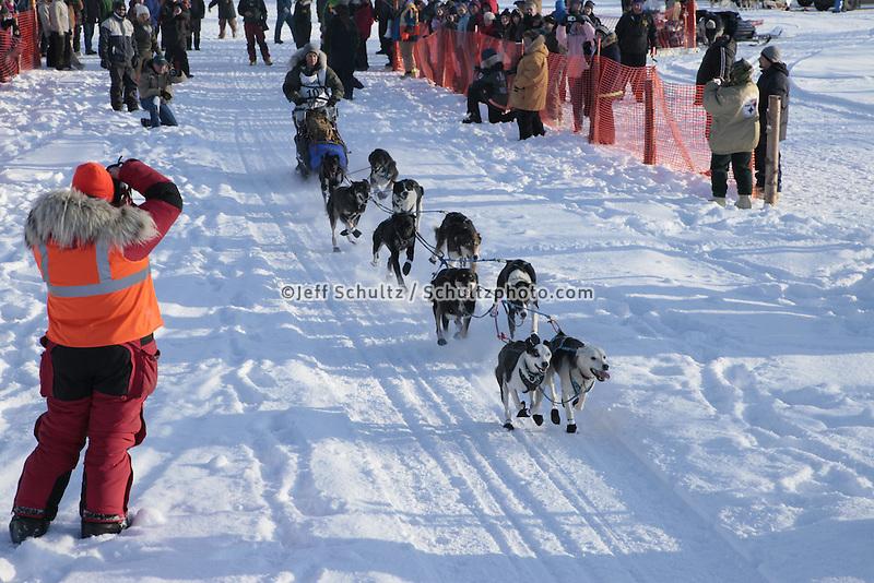 Saturday February 25, 2012   Bailey Vitello leaves the start line on Knik Lake during the Junior Iditarod start.   Bailey Vitello