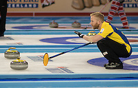 Glasgow. SCOTLAND. Sweden &quot;Skip&quot; Niklas EDIN, signals to his team mates at the Le Gruy&egrave;re European Curling Championships. 2016 Venue, Braehead  Scotland<br /> Sunday  20/11/2016<br /> <br /> [Mandatory Credit; Peter Spurrier/Intersport-images]