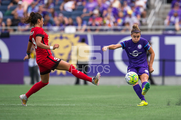 Orlando, FL - Sunday June 26, 2016: Nadia Nadim, Stephanie Catley  during a regular season National Women's Soccer League (NWSL) match between the Orlando Pride and the Portland Thorns FC at Camping World Stadium.