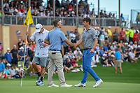 Kevin Streelman (USA) shakes hands with Ollie Schniederjans (USA) on 18 after day 4 of the Valero Texas Open, at the TPC San Antonio Oaks Course, San Antonio, Texas, USA. 4/7/2019.<br /> Picture: Golffile | Ken Murray<br /> <br /> <br /> All photo usage must carry mandatory copyright credit (© Golffile | Ken Murray)