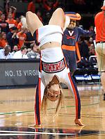 Virginia cheerleader during the game Tuesday, Jan. 12, 2016 in Charlottesville, Va. Virginia defeated Miami 66-58. Photo/Andrew Shurtleff