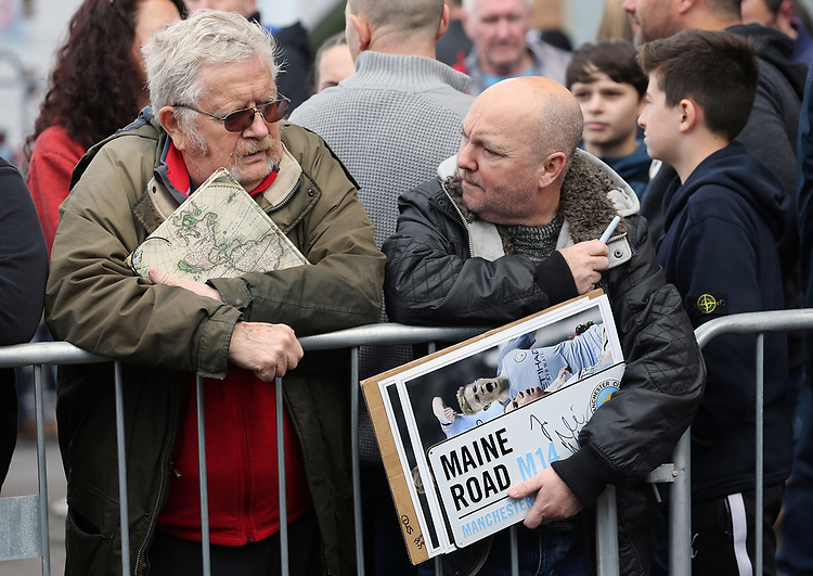 Fans await the arrival of the Manchester City team bus ahead of kick-off at Turf Moor<br /> <br /> Photographer Rich Linley/CameraSport<br /> <br /> The Premier League - Burnley v Manchester City - Sunday 28th April 2019 - Turf Moor - Burnley<br /> <br /> World Copyright © 2019 CameraSport. All rights reserved. 43 Linden Ave. Countesthorpe. Leicester. England. LE8 5PG - Tel: +44 (0) 116 277 4147 - admin@camerasport.com - www.camerasport.com