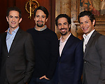Andy Blankenbuehler, Lin-Manuel Miranda, Alex Lacamoire and Thomas Kail from the 'Hamilton' creative team during a CBS Morning News interview taping with John Dickerson at The Library of Congress on December 2, 2018 in Washington, D.C.