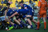 Dylan Nel controls the ball at the base of the scrum during the Mitre 10 Cup rugby match between Wellington Lions and Otago at Westpac Stadium in Wellington, New Zealand on Sunday, 19 August 2018. Photo: Dave Lintott / lintottphoto.co.nz