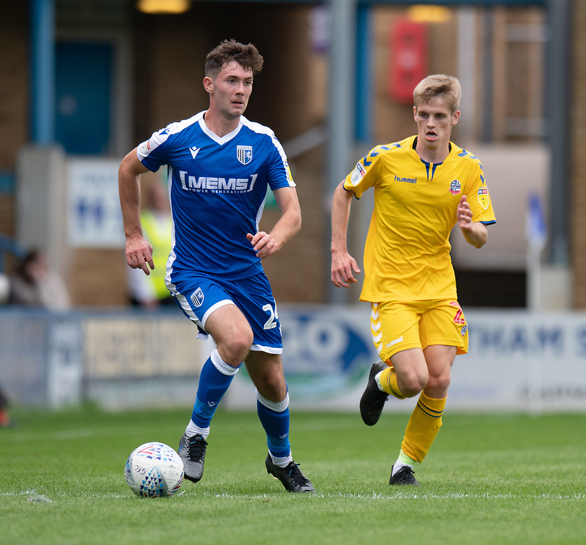 Gillingham Tom O'Connor (left) under pressure from Bolton Wanderers' Ronan Darcy (right) <br /> <br /> Photographer David Horton/CameraSport<br /> <br /> The EFL Sky Bet League One - Gillingham v Bolton Wanderers - Saturday 31st August 2019 - Priestfield Stadium - Gillingham<br /> <br /> World Copyright © 2019 CameraSport. All rights reserved. 43 Linden Ave. Countesthorpe. Leicester. England. LE8 5PG - Tel: +44 (0) 116 277 4147 - admin@camerasport.com - www.camerasport.com