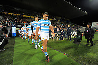 Agustin Creevy leads his team out for the Rugby Championship match between the NZ All Blacks and Argentina Pumas at Yarrow Stadium in New Plymouth, New Zealand on Saturday, 9 September 2017. Photo: Dave Lintott / lintottphoto.co.nz