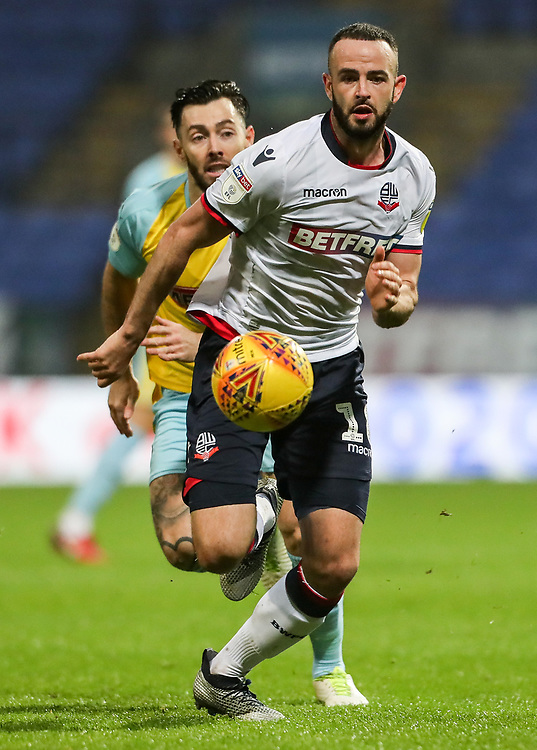 Bolton Wanderers' Marc Wilson competing with Rotherham United's Richie Towell<br /> <br /> Photographer Andrew Kearns/CameraSport<br /> <br /> The EFL Sky Bet Championship - Bolton Wanderers v Rotherham United - Wednesday 26th December 2018 - University of Bolton Stadium - Bolton<br /> <br /> World Copyright © 2018 CameraSport. All rights reserved. 43 Linden Ave. Countesthorpe. Leicester. England. LE8 5PG - Tel: +44 (0) 116 277 4147 - admin@camerasport.com - www.camerasport.com