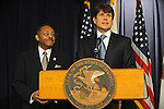 Illinois Governor Rod Blagojevich announces Roland Burris as Barack Obama's replacement to the U.S. Senate in the Thompson Center in Chicago, Illinois on December 30, 2008.