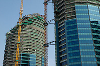 Skyscrapers under construction, Beijing, China.