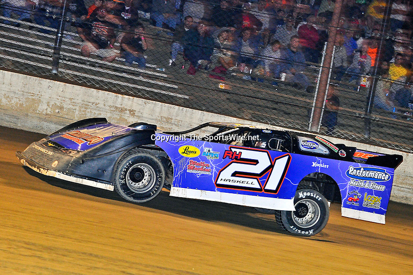 Sep 9, 2011; 10:16:46 PM; Rossburg, OH., USA; The 41st annual running of the World 100 Dirt Late Models racing for the Globe trophy at the Eldora Speedway.  Mandatory Credit: (thesportswire.net)
