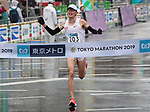 March 3, 2019, Tokyo, Japan - Japan's Kensuke Horio crosses the finish line of the Tokyo Marathon 2019 in Tokyo on Sunday, March 3, 2019. Horio finished the fifth with the best time of Japanese 2 hours 10 minutes 21 seconds.  (Photo by Yoshio Tsunoda/AFLO)