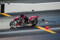Jun. 17, 2011; Bristol, TN, USA: NHRA top fuel Harley motorcycle rider Mike Scott during qualifying for the Thunder Valley Nationals at Bristol Dragway. Mandatory Credit: Mark J. Rebilas-