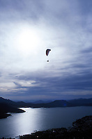 Parapenting in Valle de Bravo, with its beautiful lake, colonial buildings, cobbled streets,  and a 2 hour drive from Mexico City, is a favorite getaway for the capital's wealthy elite. 3-13-06