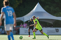Seattle, WA - Sunday, April 17, 2016:  Seattle Reign FC defender Kendall Fletcher (13) looks to pass the ball. Sky Blue FC defeated the Seattle Reign FC 2-1 during a National Women's Soccer League (NWSL) match at Memorial Stadium.