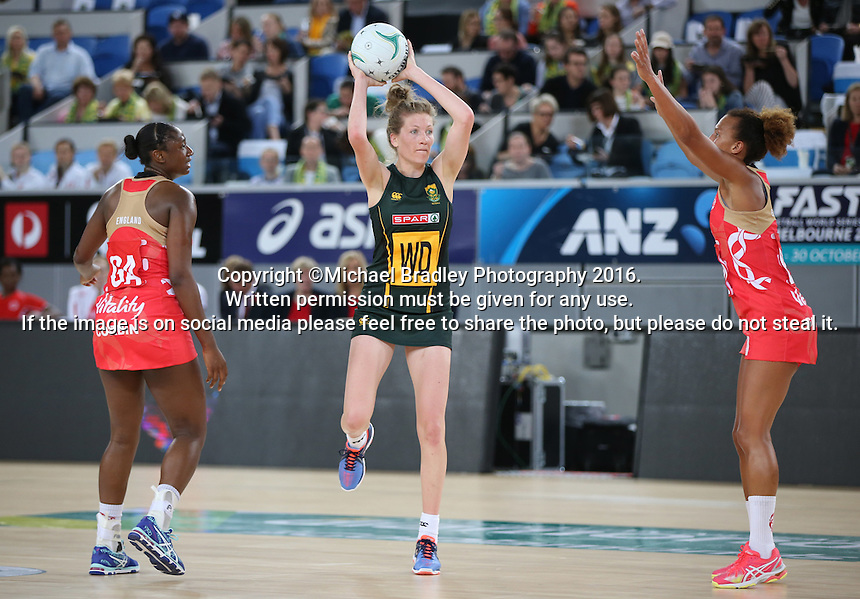 04.09.2016 South Africa's Karla Mostert in action during the Netball Quad Series match between England and South Africa played at Margaret Court Arena in Melbourne. Mandatory Photo Credit ©Michael Bradley.
