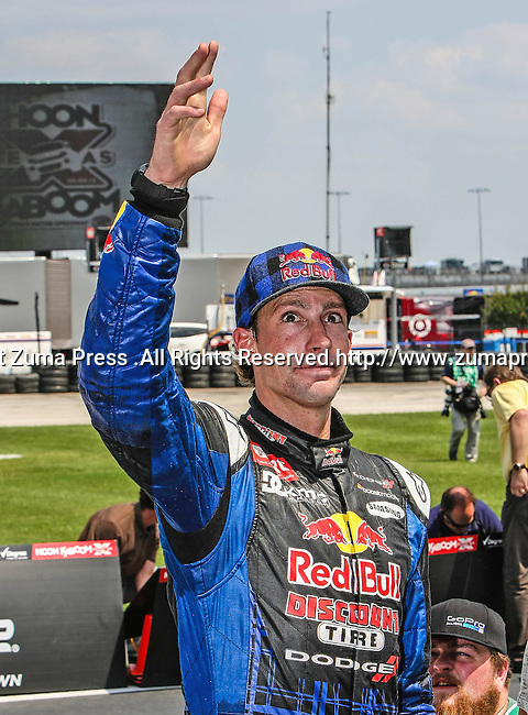 Travis Pastrana (199) driver of the Red Bull car, in action during the Global Rally Cross race, the Hoon Kaboom, at Texas Motor Speedway in Fort Worth,Texas. Global Rally Cross driver Marcos Gronholm (3) wins the Hoon Kaboom race...
