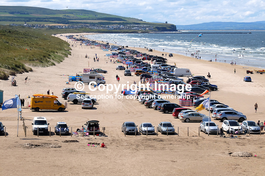 Portstewart Strand, Portstewart, Co Londonderry, N Ireland, UK, sunny day, blue sky, white clouds, July, 2015, 201507251198<br />