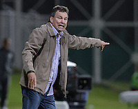 BOGOTÁ -COLOMBIA, 07-08-2013. Pedro Vera técnico de Trujillanos de Venezuela gesticula durante partido ante Equidad de Colombia en la primera fase de la Copa Total Sudamericana 2013 jugado en el estadio Metropolitano de Techo en Bogotá./  Pedro Vera coach of Trujillanos from Venezuela gestures during match against Equidad de Colombia on the first phase of the Copa Total Sudamericana 2013 played at Metropolitano stadium of Techo in Bogota city. VizzorImage/ Gabriel Aponte/ STR