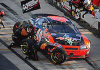 Sept 19, 2008; Dover, DE, USA; NASCAR Camping World Series East driver Matt Kobyluck pits during the Sunoco 150 at Dover International Speedway. Mandatory Credit: Mark J. Rebilas-
