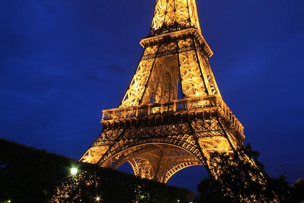 The Tour Eiffel or Eiffel Tower at night, Paris, France.