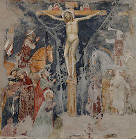 Detail of fresco of the crucifixion, 14th century, in the Chiesa S. Giorgetto dei Domenicani, also known as S. Pietro Martire, 1283, Verona, Italy. The Church, built by the Dominicans, contains  many 14th century frescoes. Picture by Manuel Cohen.