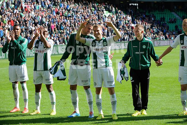 GRONINGEN - Voetbal, FC Groningen - Ajax,  Eredivisie, Euroborg, seizoen 2014-2015, 31-08-2014,   Groningen viert de 2-0 zege