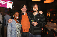 Chelsea Spratling, Lucas Allen and Chris Vega attend the Happy Groups Launch Party at the Luxe Lounge at Lucky Strike, on May 22 in New York City.