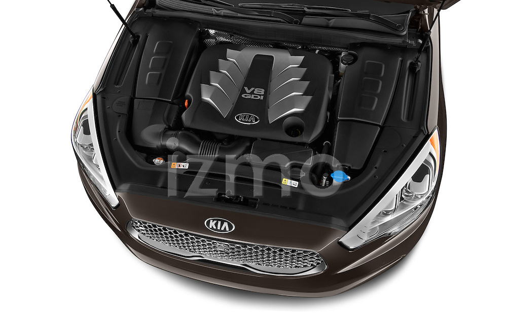 High angle engine detail of a 2015 KIA K900 Base 4 Door Sedan