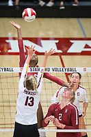 STANFORD, CA - September 9, 2018: Tami Alade, Kathryn Plummer, Morgan Hentz at Maples Pavilion. The Stanford Cardinal defeated #1 ranked Minnesota 3-1 in the Big Ten / PAC-12 Challenge.